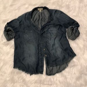 Anthropologie Denim Blouse Size L